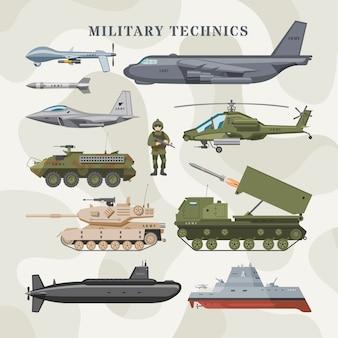 Militärtechnik-armee-transportflugzeug und gepanzerter panzer oder hubschrauberillustrations-technischer satz der gepanzerten luftfahrt und des gepanzerten u-bootes auf tarnhintergrund