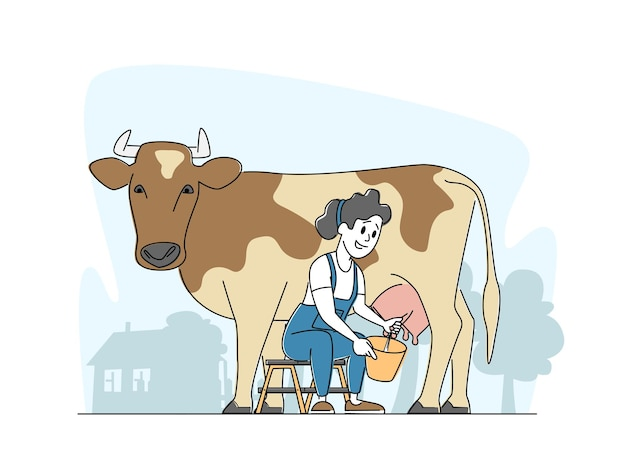 Milkmaid woman character in uniform sitzt auf stuhl und melkt kuh in eimer