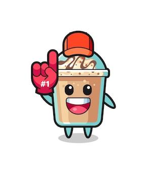 Milkshake illustration cartoon mit nummer 1 fans handschuh, süßes design für t-shirt, aufkleber, logo-element