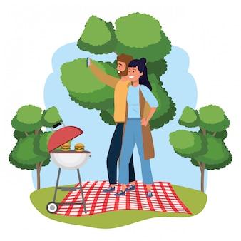 Millennial paar datum picknick