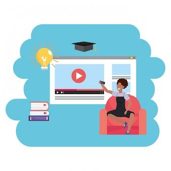 Millennial-studentenseite für online-bildung