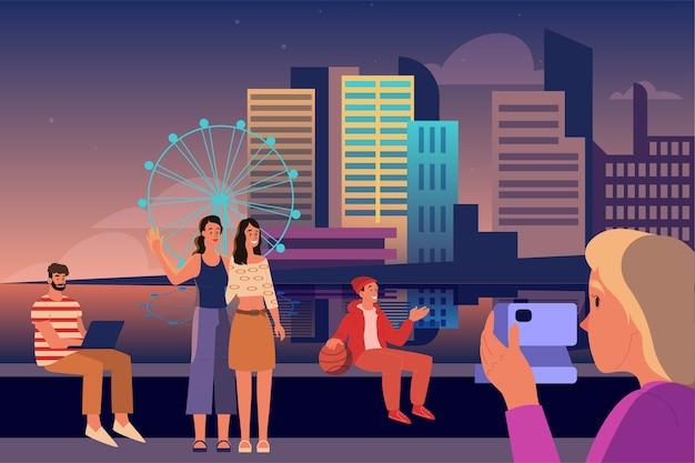 Millennials generation z darstellung. soziales gruppenkonzept, generationentyp. glückliche junge leute, die zeit draußen verbringen. illustration