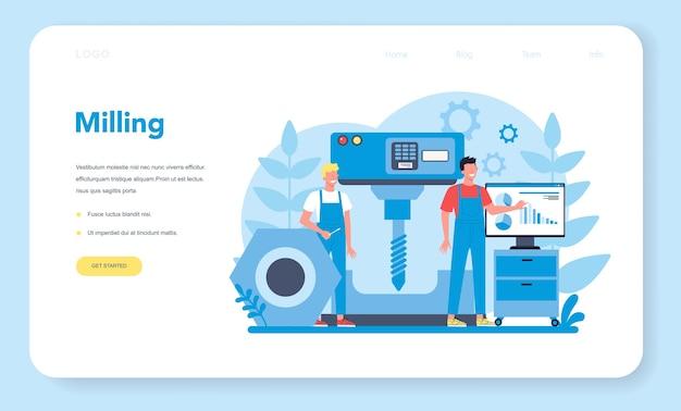 Miller und fräsen web banner oder landing page. ingenieur bohrt metall mit fräsmaschine, detailfertigung. industrietechnik.
