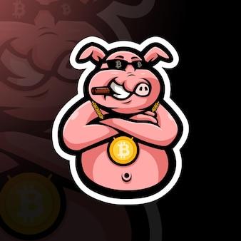 Milliardärsschwein mit bitcoin-halskette
