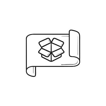 Millimeterpapier mit geöffneter boxskizze und prototyping handgezeichneter umriss-doodle-symbol. musterkonzept entwerfen. vektorskizzenillustration für print, web, mobile und infografiken auf weißem hintergrund.