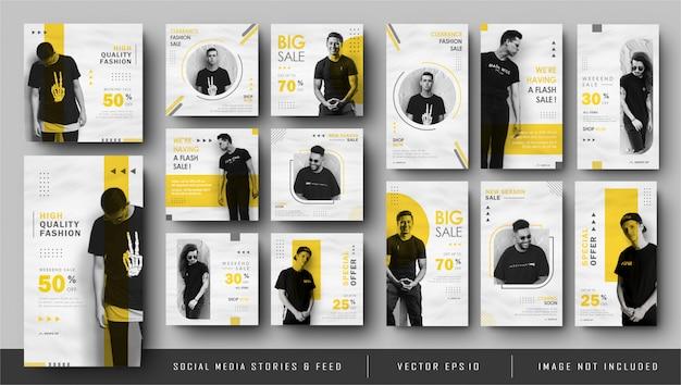 Minamlist gelbe instagram geschichten und social media feed post banner