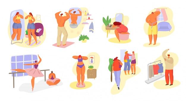 Minderwertigkeitskomplex von verschiedenen gezeichneten handillustrationsmännern der frauenillustration, frauen eingestellt.