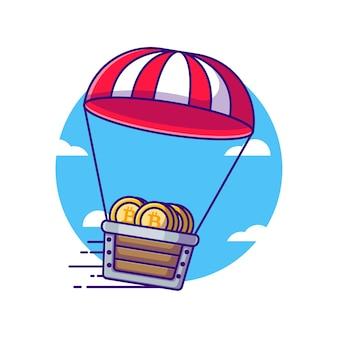Mine cart bitcoin mit fallschirm-cartoon-illustrationen