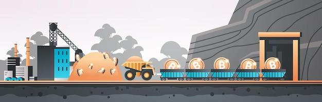Minecart auf schienen mit bitcoins blockchain cryptocurrency mining konzept industriepanorama fertigungslandschaft horizontale vektorillustration