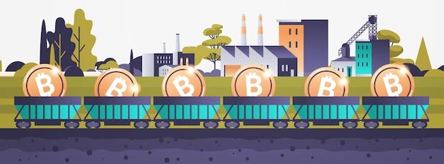 Minecart auf schienen mit bitcoins blockchain-kryptowährungs-mining-konzept industriepanorama