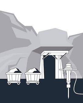 Minenwagen und werkzeuge