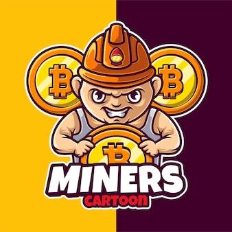 Miner crypto maskottchen charakter logo vorlage