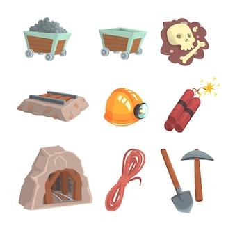 Mineralbergbau, kohleindustrie eingestellt für. bunte karikatur detaillierte illustrationen