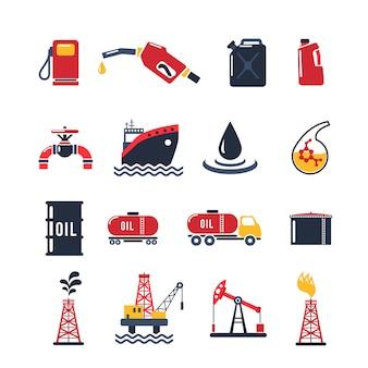 Mineralöl-industrie-icon-set Kostenlosen Vektoren