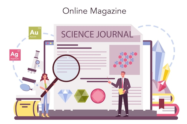 Mineralogist online-service oder plattform Premium Vektoren