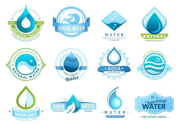 Mineralwasseretiketten, schablonenflaschenpaket und firmendesign der marke.