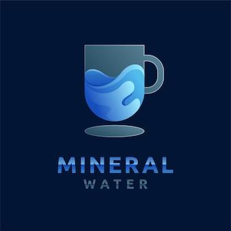 Mineralwasserlogo mit farbverlaufskonzept