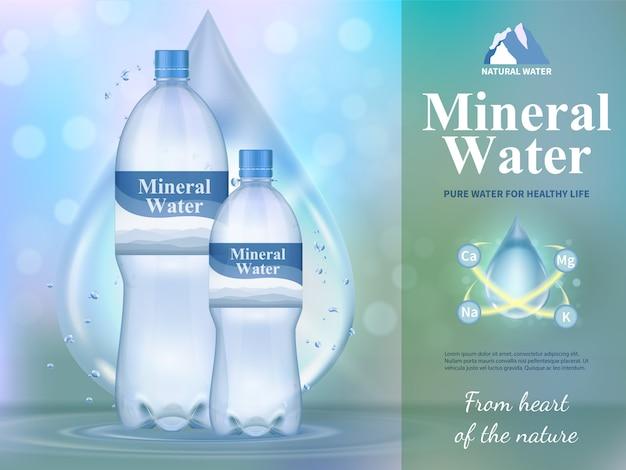 Mineralwasserzusammensetzung mit symbolen des gesunden lebens