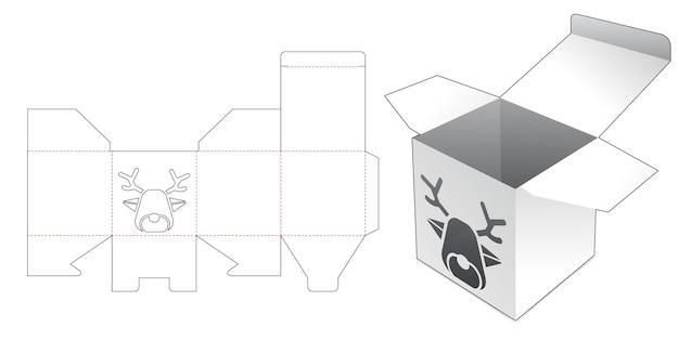 Mini-box mit fenster-stanzschablone in rentierform