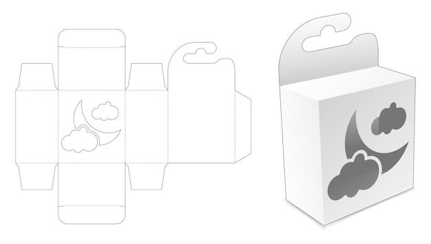 Mini-hängebox mit mond- und wolkenfenster-stanzschablone