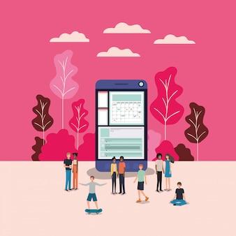 Mini-leute, die im smartphone arbeiten