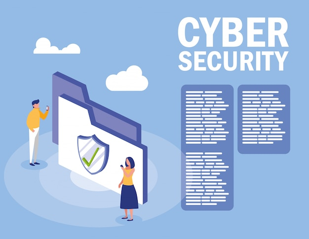 Mini menschen mit ordner und cyber-sicherheit