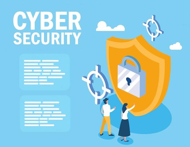 Mini-menschen mit schild und cyber-sicherheit