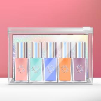 Mini-nagellack-set mit holografischer rückenkarte und durchsichtiger verpackung mit reißverschluss.