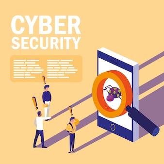 Mini-personen mit infiziertem smartphone und internetsicherheit