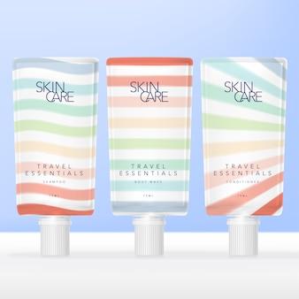 Mini travel essential toilettenartikel schraubverschlusspaket mit pastellfarbenem regenbogenstreifenmuster