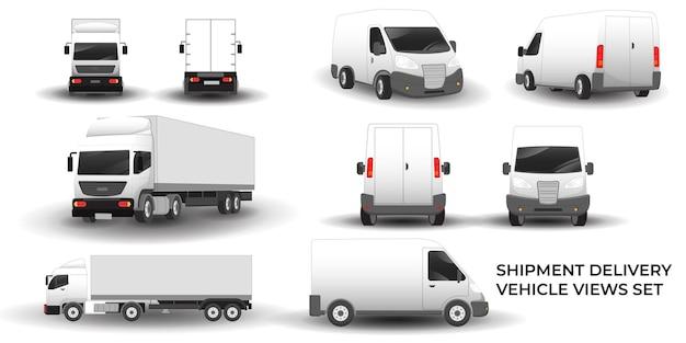 Mini van und trailer truck delivery fahrzeugansichten set illustration vektor