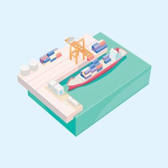Miniatur 3d des behälterfrachtschiffladens.