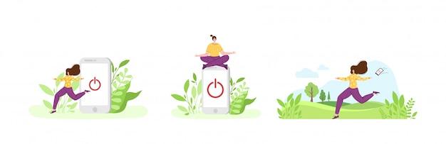 Miniatur glückliches mädchen geht von riesigen handy aus. frau auf natürlicher landschaft
