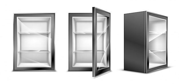 Minikühlschrank für getränke, leerer grauer kühlschrank