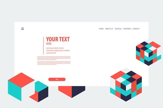Minimal kreatives isometrisches web-banner-design würfelvektor futuristische isometrie geometrisch für text