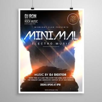 Minimal-music-party-flyer vorlage grunge-stil mit leuchtenden lichter