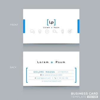 Minimal sauberes design blaue visitenkarte vorlage