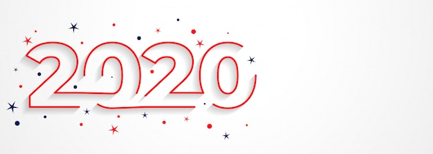 Minimale 2020 linientypographie des neuen jahres