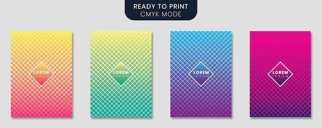 Minimale abdeckung vorlage mit farbverlauf design und geometrischen linien gesetzt