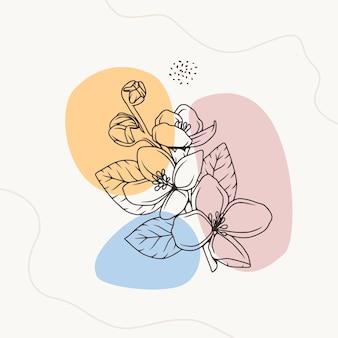 Minimale abstrakte botanische florale strichzeichnung im strichzeichnungsstil