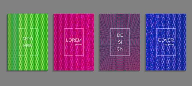 Minimale abstrakte vektor-halbton-cover-design-vorlage. zukünftiger geometrischer steigungshintergrund. vektorvorlagen für plakate, banner, flyer, präsentationen und berichte