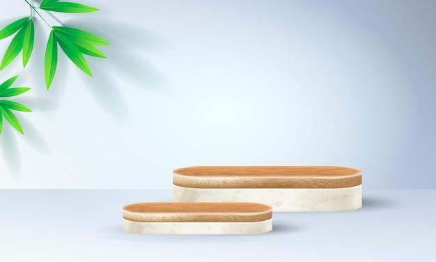 Minimale bambus-podiumszene mit geometrischen formen. zylinder bambus podium oder weiße marmor plattform.
