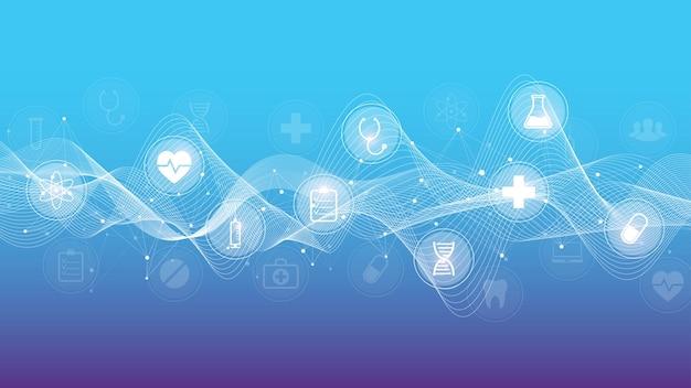 Minimale bannervorlage für das gesundheitswesen mit flachen symbolen. konzept der gesundheitsmedizin. banner für medizinische innovationstechnologie-apotheken. vektor-illustration.