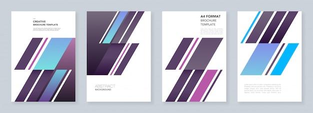 Minimale broschürenvorlagen. abstrakt mit dynamischen diagonalen formen im minimalistischen stil. vorlagen für flyer, faltblätter, broschüren, berichte, präsentationen, werbung.