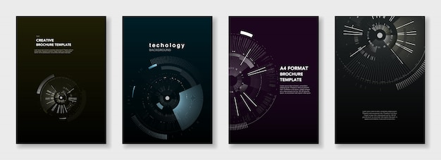 Minimale broschürenvorlagen. kreiselemente auf dunkelheit. technologie-science-fiction