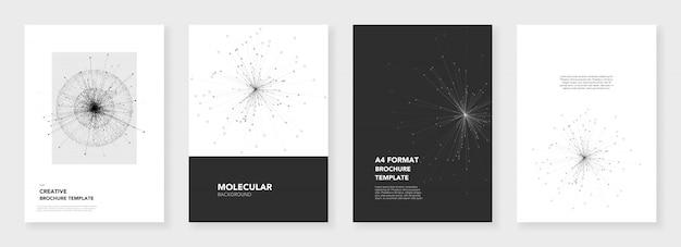 Minimale broschürenvorlagen mit molekülmodellen