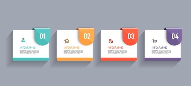 Minimale business-infografik-vorlage mit vier schritten