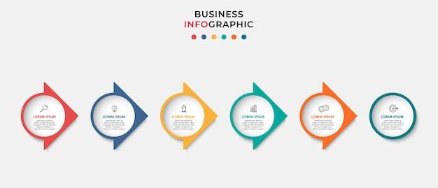 Minimale business-infografik-vorlage. zeitleiste mit 6 schritten, optionen und marketingsymbolen. vektorlineare infografik mit zwei kreiselementen. kann für präsentationen verwendet werden.