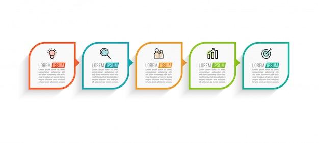 Minimale business-infografiken-vorlage mit fünf schritten