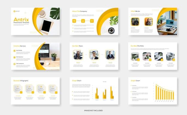 Minimale business-powerpoint-präsentationsvorlage oder firmenprofilvorlage